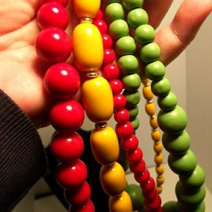 Vintage Beaded Necklaces Lot of 3 Red Yellow Green